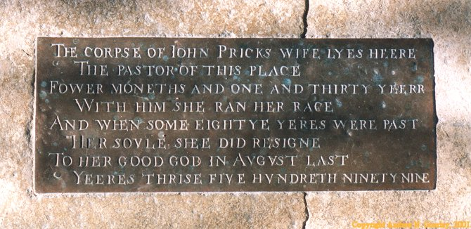John Pricks wife's grave, (1599). Click here to return to the thumbnail