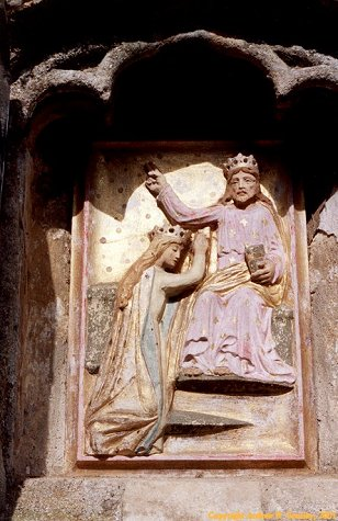 A restored copy of the mediaeval alabaster 'The Coronation of Our Lady'. Click here to return to the thumbnail