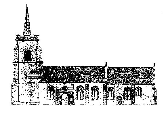 A sketch of the church c1900 showing the old spire, and proposed new porch, (which was never built). Click here to return to the thumbnail