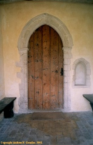 The porch and Norman doorway. Click here to return to the thumbnail
