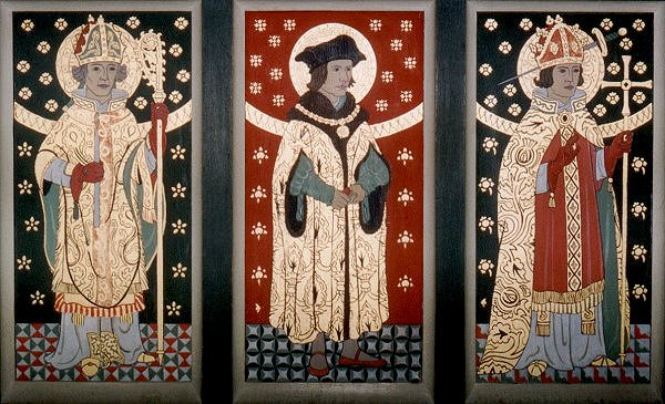 The left hand rood screen panels. Click here to return to the thumbnail