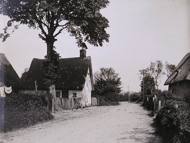 The village c. 1930 facing north - Chestnut Cottage just visible on left, and Treakles on right (centre unknown)