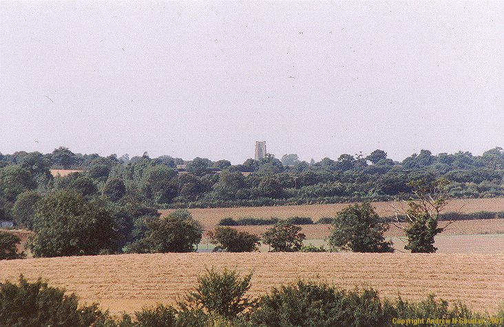 Lavenham church across the fields (through a 300mm lens)